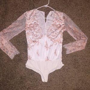 New York & Co. women's Long sleeve mesh bodysuit